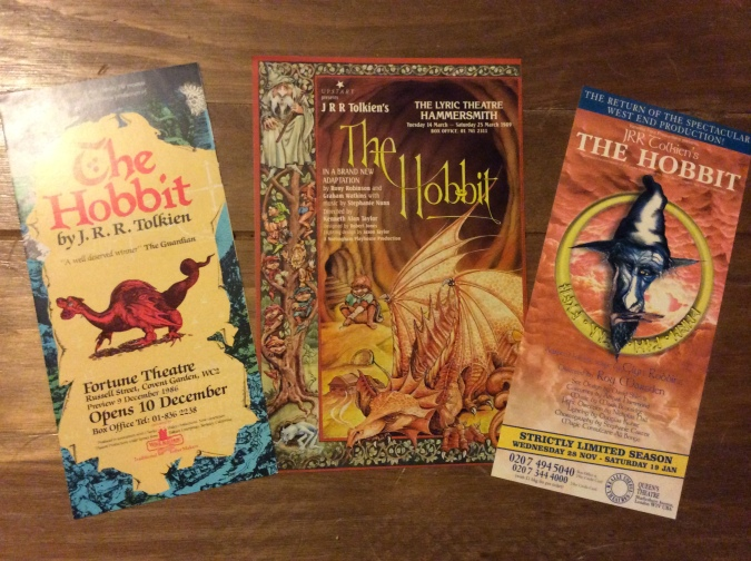 Flyers from various theatre productions of the Hobbit, I have seen one of these and it was very good